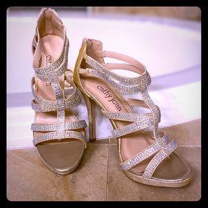 Gold shimmer & Rhinestone Heels